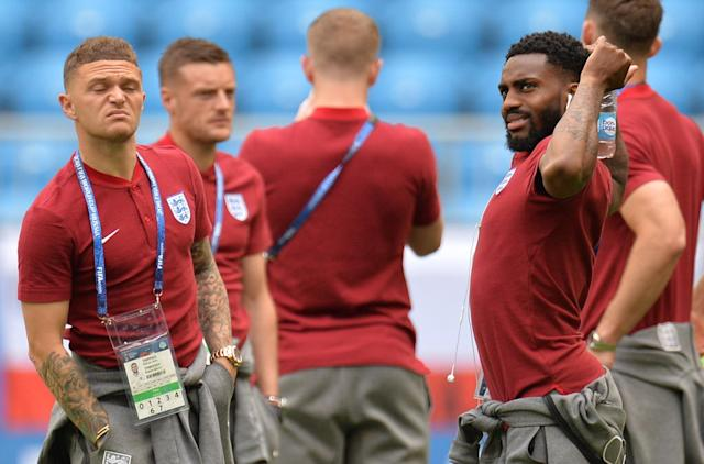 <p>Kieran Trippier (L) and Danny Rose of England take in the atmosphere </p>