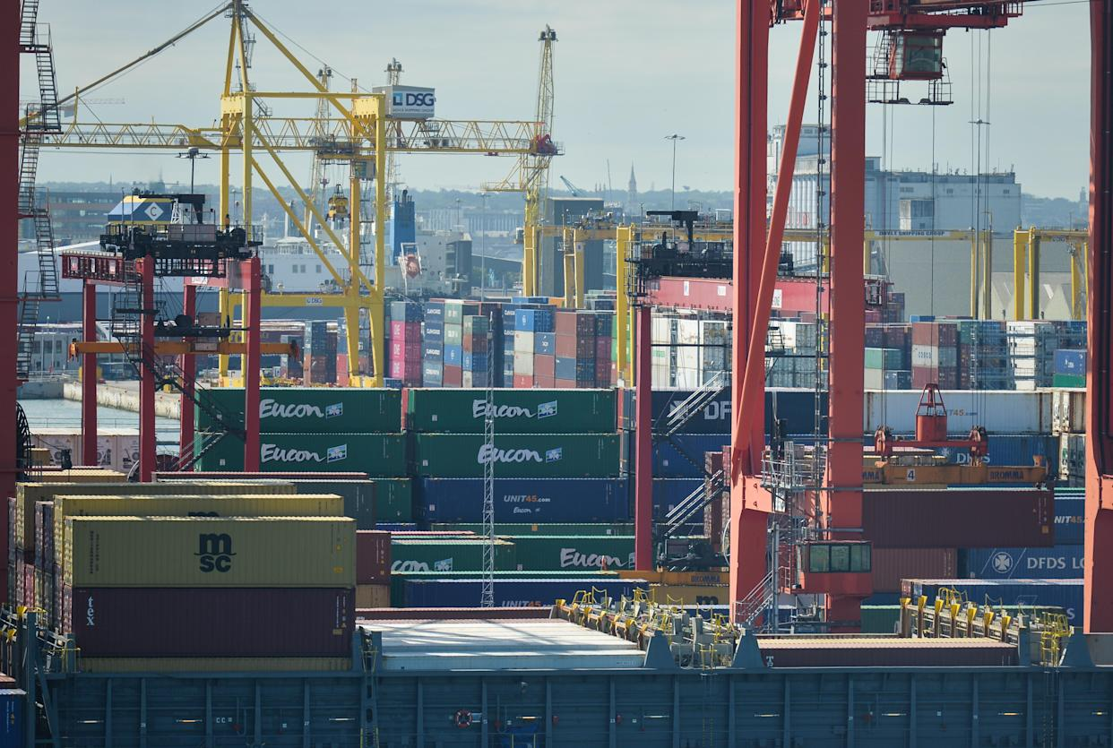 A general view of Dublin container terminals seen from an Irish Ferry 'W.B. Yeats' leaving Dublin Port. On Thursday, July 15, 2021, in Dublin, Ireland. (Photo by Artur Widak/NurPhoto via Getty Images)