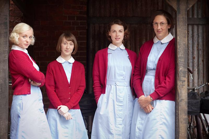 CALL THE MIDWIFE, (from left): Helen George, Bryony Hannah, Jessica Raine, Miranda Hart, (Season 2), 2012-. photo: Laurence Cendrowicz Neal Street Prod./PBS / Courtesy: Everett Collection