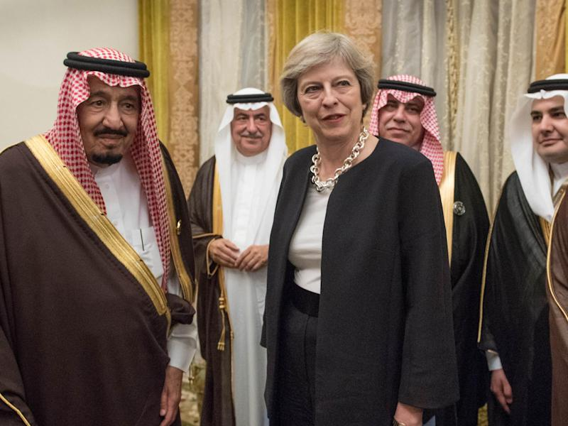 Theresa May with King Salman (left) during a visit to Saudi Arabia in April: Getty