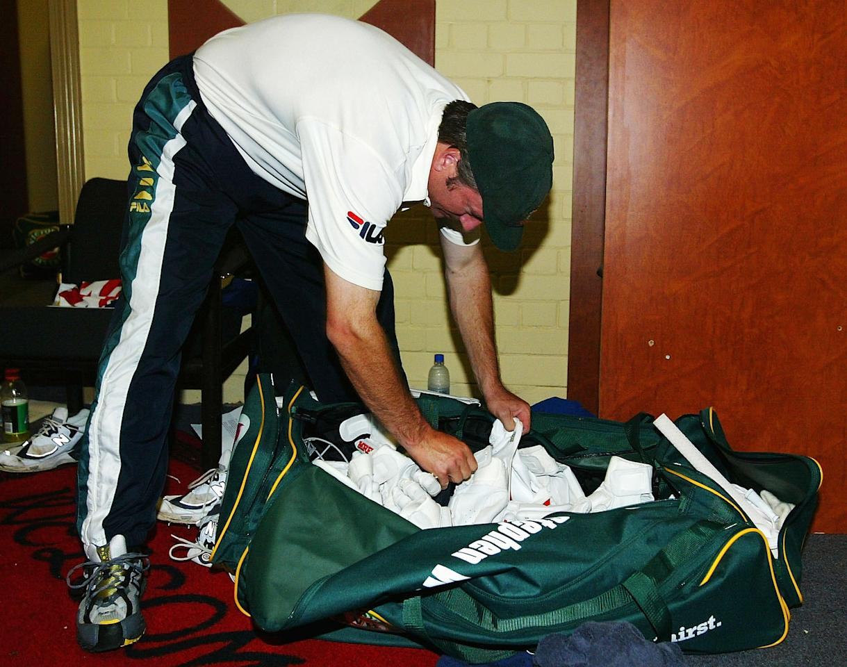 SYDNEY, AUSTRALIA - JANUARY 6:  Steve Waugh of Australia, who is retiring from Test Cricket, packs his bags for the last time in the changing rooms after day five of the 4th Test between Australia and India at the SCG on January 6, 2004 in Sydney, Australia. (Photo by Hamish Blair/Getty Images)