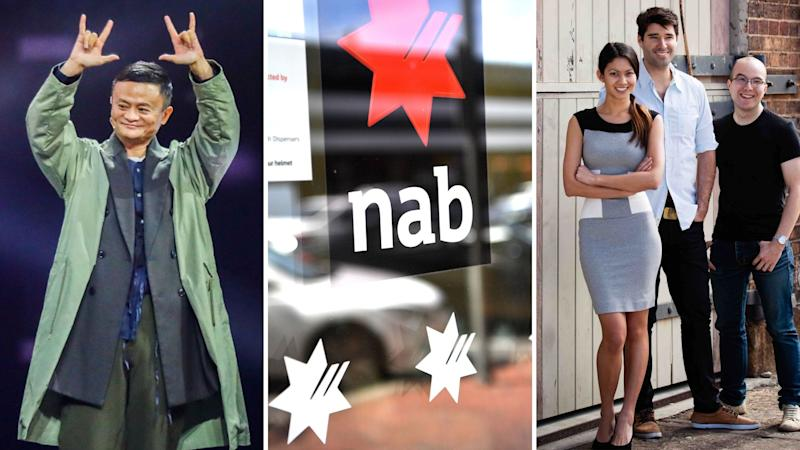 Jack Ma on the left, NAB sign in the centre and Canva co-founders on the right.