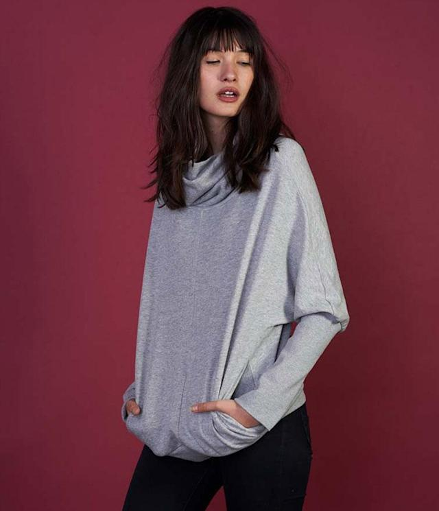 "<p>No simple sweatshirt, this impossibly cozy vegan sweater from NYC-based vegan fashion company Vaute is from a fleece blend of hemp, polyester, cotton, and spandex (fabric blends vary by color, including navy, gray, and black), offering an addictable blend of warmth and style. The pockets rock. (<a href=""https://vautecouture.com/collections/womens-sweaters/products/the-felicity-cocoon-in-grey"" rel=""nofollow noopener"" target=""_blank"" data-ylk=""slk:$198, Vaute"" class=""link rapid-noclick-resp"">$198, Vaute</a>) </p>"