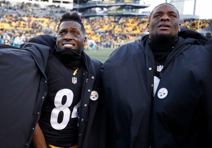 Antonio Brown (L) and Le'Veon Bell put on quite a show on Sunday. (Getty Images)