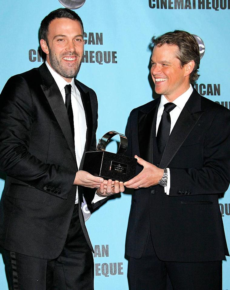 """When Matt Damon accepted the 24th Annual American Cinematheque Award from his best mate Ben Affleck last Saturday night, the event turned into a roast. Affleck's wife Jennifer Garner joked, """"Ben is half of one of the greatest love stories ever told. Not with me. Here's proof that love is alive and well in Hollywood. At least for my darling husband and my husband's darling husband."""" Russ Einhorn/<a href=""""http://www.splashnewsonline.com"""" target=""""new"""">Splash News</a> - March 27, 2010"""