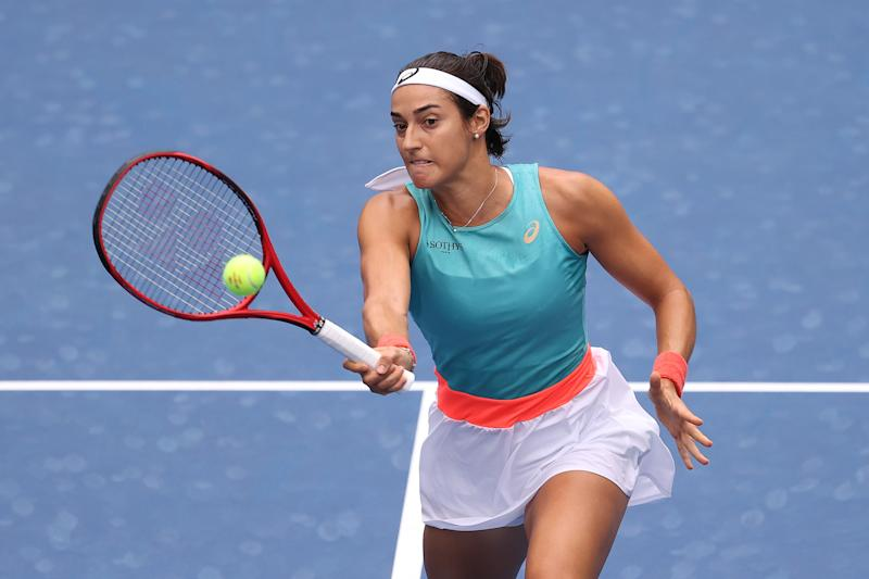 Caroline Garcia fended off a second-set rally after a dominant first set against Karolina Pliskova. (Al Bello/Getty Images)