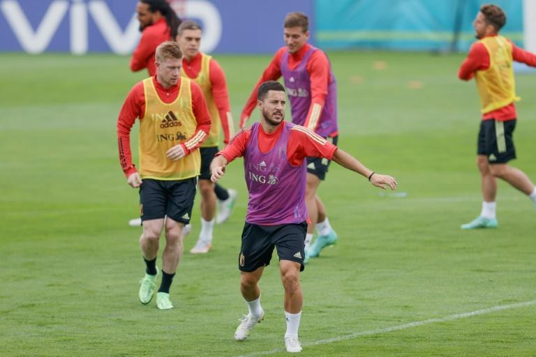 Eden Hazard (front) and Kevin De Bruyne at Belgium's training base during the Euro
