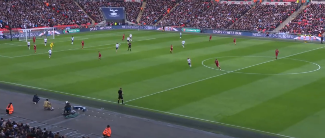 Moreno is close to the edge of the box as Lloris releases it. Can is the farthest up the pitch of all 22 players. (Screenshot: NBC Sports Live Extra)