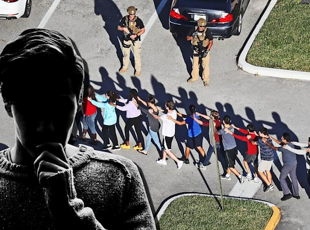 Students are evacuated at Marjory Stoneman Douglas High School in Parkland, Fla., on Wednesday. (Photo illustration: Yahoo Lifestyle; photos: Getty Images)