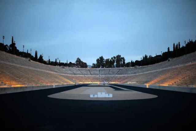 The Panathenaic stadium, where the handover ceremony of the Olympic flame for the Tokyo 2020 Summer Olympics will take place, is closed to visitors as a precaution against the spread of the coronavirus disease (COVID-19), in Athens