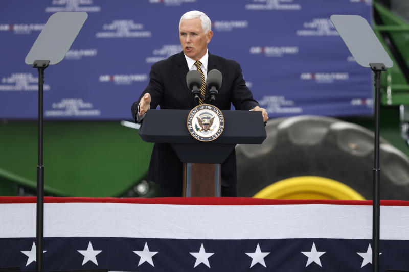 Vice President Mike Pence speaks during a visit to the Manning Farms, Wednesday, Oct. 9, 2019, in Waukee, Iowa. (AP Photo/Charlie Neibergall)