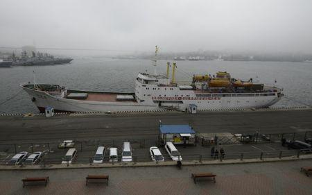 The North Korean ferry, the Mangyongbong, is docked in the port of the far eastern city of Vladivostok