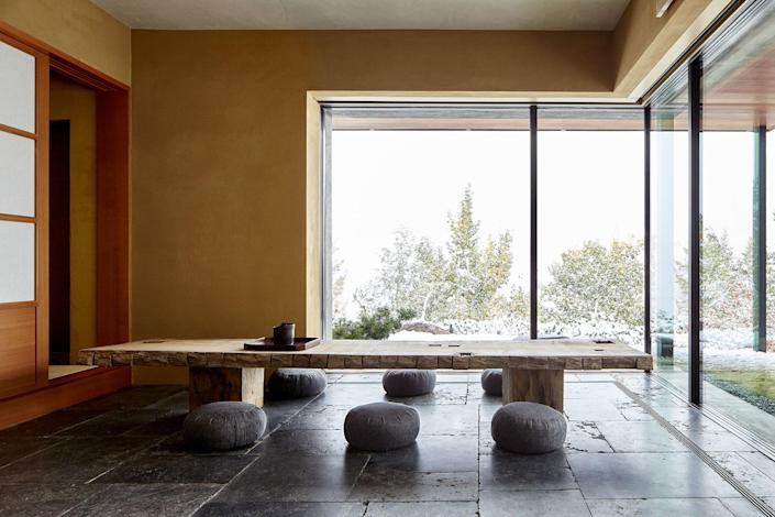 Inside an artist collaboration with Aspen's hottest firm, Rowland & Broughton. Titled the Art Barn, the private tearoom in a residence was crafted by the architects with the help of a tea master.