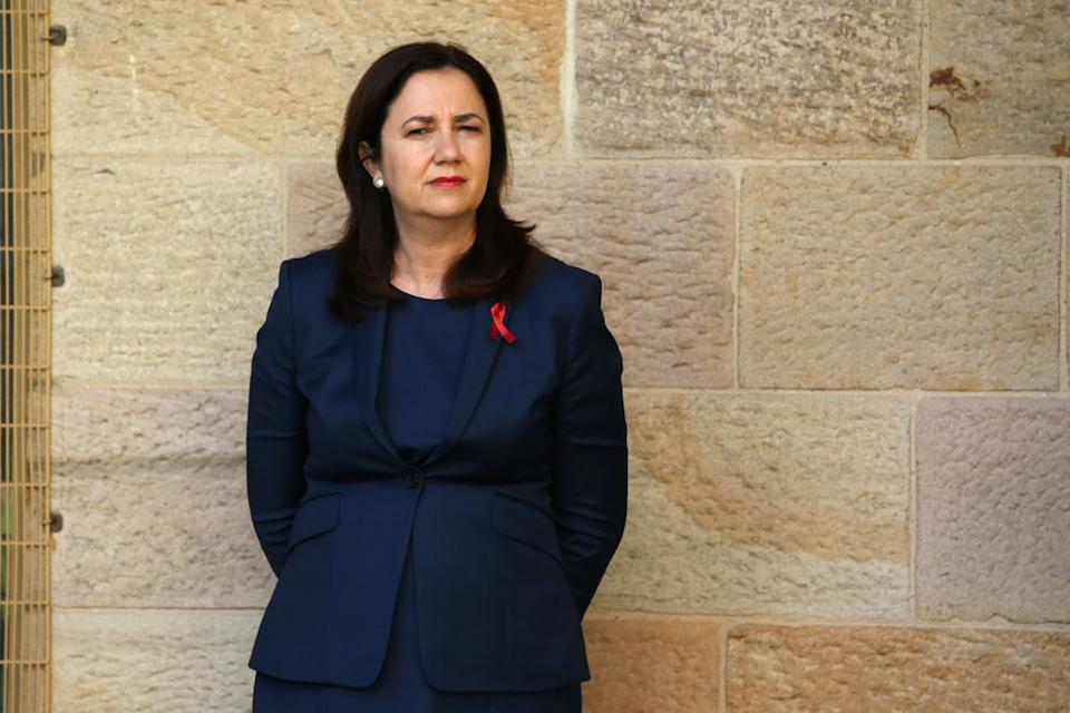 Queensland Premier Annastacia Palaszczuk looks on at a press conference in Brisbane, Australia.