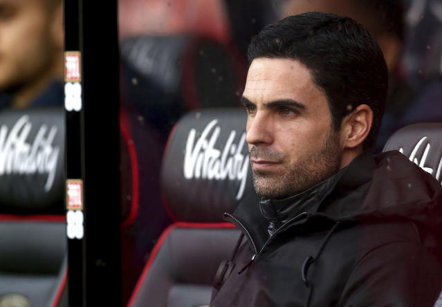 Arsenal manager Mikel Arteta looks on during his team's match against Bournemouth (Mark Kerton/PA via AP)