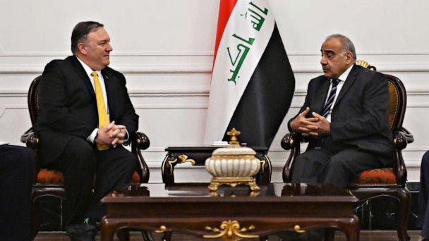 PHOTO: Secretary of State Mike Pompeo, left, speaks with Iraqi Prime Minister Adil Abdul-Mahdi in Baghdad on Jan. 9, 2019. (Andrew Caballero-reynolds/AFP via Getty Images)