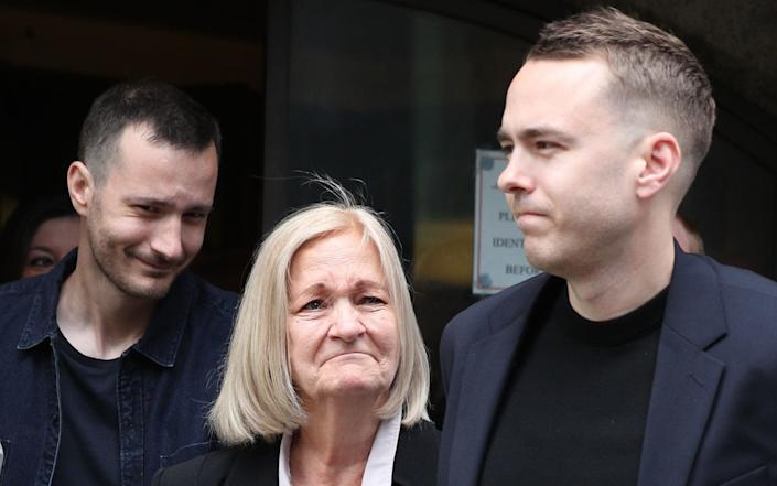 Hunt was represented by the same legal team that fought for justice on behalf of Sally Challen (centre, with her sons) - PA