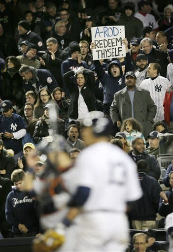 Alex Rodriguez was a target of frustration for Yankees fans on Sunday. (AP)