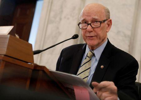 FILE PHOTO: Chairmen Sen. Pat Roberts (R-KS) speaks before Secretary of Agriculture nominee Sonny Perdue's testimony at his confirmation hearing before the Senate Agriculture Committee on Capitol Hill in Washington, DC, U.S. March 23, 2017. REUTERS/Aaron P. Bernstein/File Photo