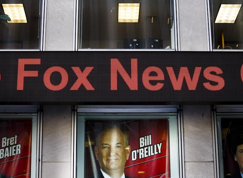 A view of a sign promoting Bill O'Reilly's show at Fox News Channels' studios following a protest by people who were calling on the network to fire O'Reilly for sexual harassment allegations against him in New York, New York, USA, 18 April 2017. O'Reilly's show has reportedly lost up to 30 advertisers and is under increasing public pressure due to recent reports that O'Reilly and Fox has settled five cases in the past 15 years for $13 million with women working with O'Reilly.Protest Against Fox News Host Bill O'Reilly, New York, USA - 18 Apr 2017