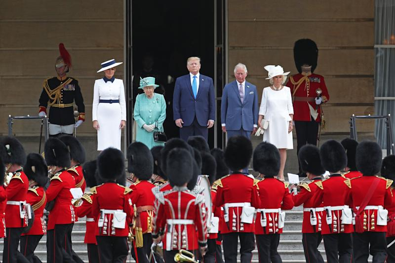 US President Donald Trump and his wife Melania are welcomed by Queen Elizabeth II, The Prince of Wales and The Duchess of Cornwall during the Ceremonial Welcome at Buckingham Palace, London, on day one of his three day state visit to the UK. (Photo by Yui Mok/PA Images via Getty Images)