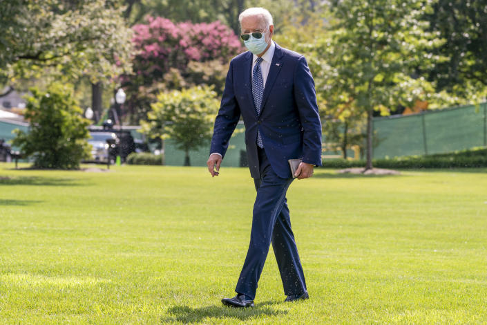 President Joe Biden arrives at the White House in Washington, Monday, Sept. 20, 2021, after returning from Rehoboth Beach, Del. (AP Photo/Andrew Harnik)