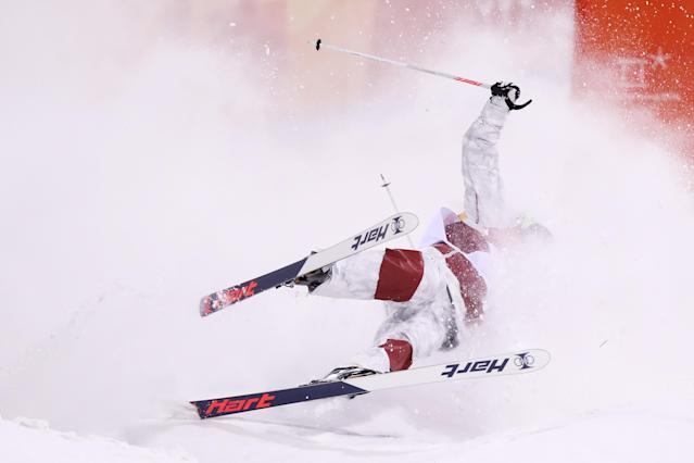 <p>Philippe Marquis of Canada crashes in the Freestyle Skiing Men's Moguls Final on day three of the PyeongChang 2018 Winter Olympic Games at Phoenix Snow Park on February 12, 2018 in Pyeongchang-gun, South Korea. (Photo by Clive Rose/Getty Images) </p>