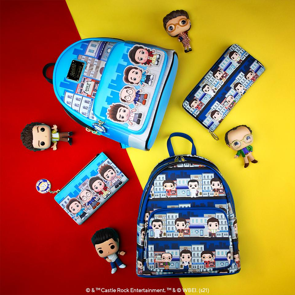 Loungefly's exclusive 'Seinfeld' backpack and wallet are available as part of Funko's new collectibles lines (Photo: Funko/Loungefly)