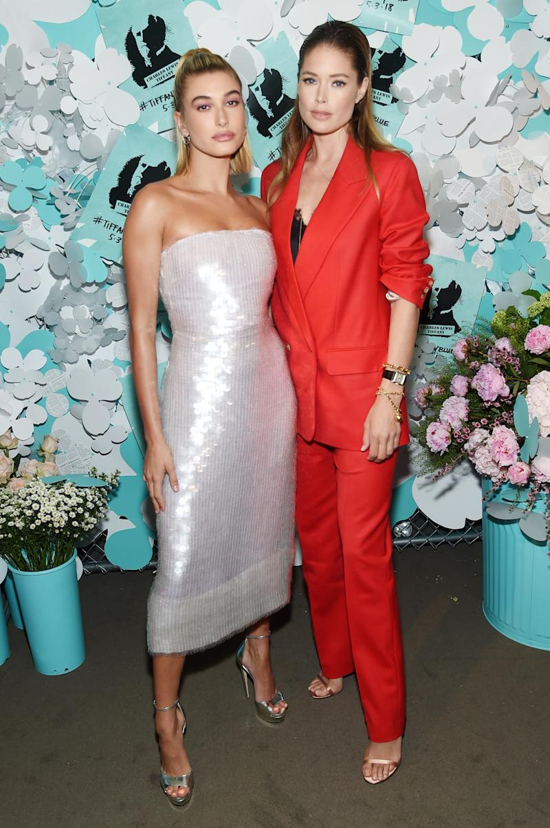 Hailey Baldwin and Doutzen Kroes attend the Tiffany & Co. Paper Flowers event and Believe In Dreams campaign launch.