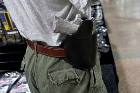 FILE PHOTO: A concealed carry holster is displayed for sale at the Guntoberfest gun show in Oaks, Pennsylvania, U.S., October 6, 2017.   REUTERS/Joshua Roberts