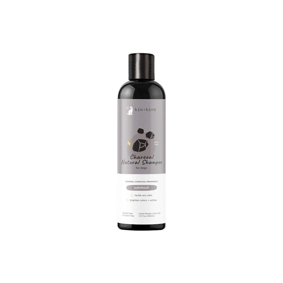 """<p><strong>kin+kind </strong></p><p>amazon.com</p><p><strong>$14.99</strong></p><p><a href=""""https://www.amazon.com/dp/B073RVFNLN?tag=syn-yahoo-20&ascsubtag=%5Bartid%7C2164.g.36563635%5Bsrc%7Cyahoo-us"""" rel=""""nofollow noopener"""" target=""""_blank"""" data-ylk=""""slk:Shop Now"""" class=""""link rapid-noclick-resp"""">Shop Now</a></p><p>This natural dog shampoo is formulated with activated charcoal, which is renowned for its ability to absorb odors and toxins. Unlike the other shampoos on this list—many of which smell like coconut or oats—this dog shampoo touts a spicy, earthy aroma. (It's still dog nose-friendly, of course).</p>"""