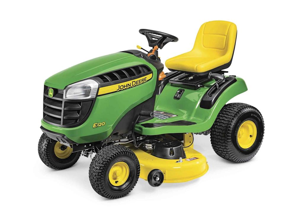 """<p><strong>E120</strong></p><p>deere.com</p><p><strong>$1899.00</strong></p><p><a href=""""https://www.deere.com/en/mowers/lawn-tractors/100-series/e120-lawn-tractor/"""" rel=""""nofollow noopener"""" target=""""_blank"""" data-ylk=""""slk:Shop Now"""" class=""""link rapid-noclick-resp"""">Shop Now</a></p><p>If you don't have a yard quite big enough to justify the purchase of this smooth-running, superior-cutting John Deere mower, then maybe, just maybe, it's time to consider moving? </p>"""