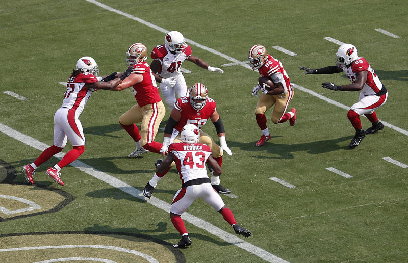 49ers RB Breida likely  doubtful  due to ankle sprain 1070c75ec