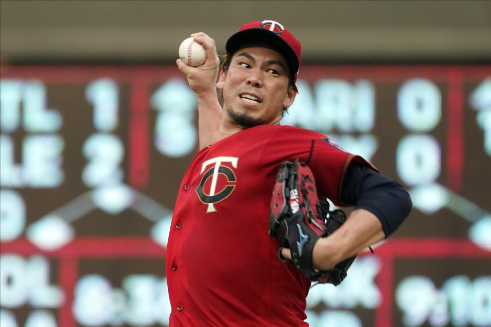 Minnesota Twins' pitcher Kenta Maeda throws to a Detroit Tigers batter during the first inning of a baseball game Tuesday, July 27, 2021, in Minneapolis. (AP Photo/Jim Mone)