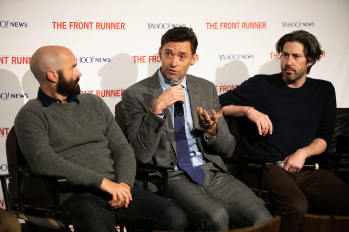 """Writer Jay Carson, actor Hugh Jackman and director Jason Reitman discuss """"The Front Runner"""" at the Metrograph in New York City on Nov. 13. (Photo: Chris Farber Productions)"""
