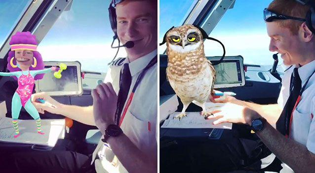 The unnamed co-pilot filmed dancing with a cartoon character (left) and (right) an owl pictured with him. Source: Snapchat