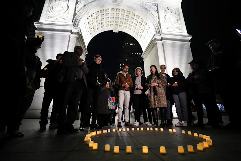 People gather at Washington Square Park in New York during a March 16 vigil held for victims who lost their lives during the New Zealand mosque attack. (Atilgan Ozdil/Anadolu Agency/Getty Images)
