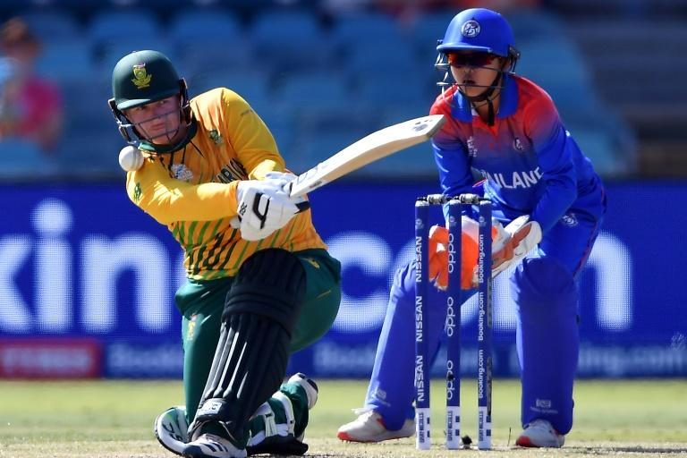 South Africa's Lizelle Lee hit a maiden T20 century against Thailand (AFP Photo/Saeed KHAN)