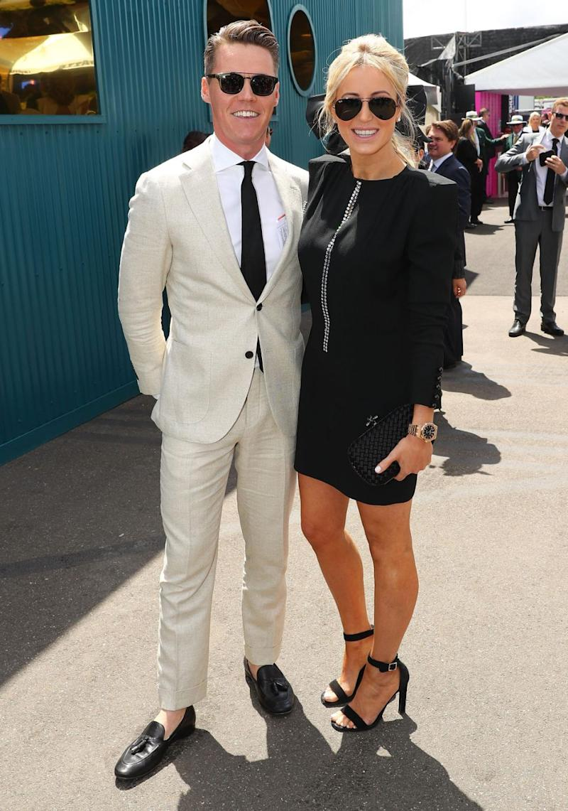 Roxy and husband Oliver Curtis looked happy while attending Derby Day together last week. Source: Getty