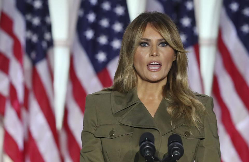 U.S. First Lady Melania Trump speaks during the Republican National Convention in the Rose Garden of the White House.