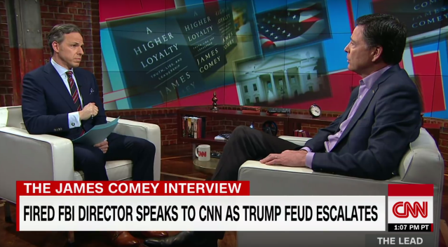 Jake Tapper interviewing James Comey. (Photo: CNN)