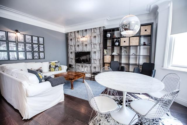 "<p>The upscale, modern flat is located in the <a href=""https://www.airbnb.ca/rooms/11329902?guests=4&adults=2&children=2&location=Abbey%20Road%2C%20London%2C%20United%20Kingdom&s=JpYgZ2J-"" rel=""nofollow noopener"" target=""_blank"" data-ylk=""slk:Saint John Wood"" class=""link rapid-noclick-resp"">Saint John Wood</a> area of London, literally a few steps from Abbey Road. The rate is $170 per night.<br>(Airbnb) </p>"