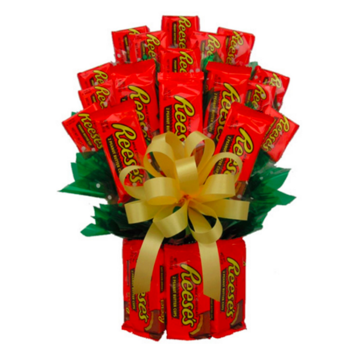 """<strong><h3>Reese's Candy Bouquet</h3></strong><br>Marilyn Monroe had it wrong — diamonds aren't a girl's best friend, Reese's peanut butter cups are.<br><br><strong>I Ate My Gift</strong> Reese's™ Candy Bouquet, $, available at <a href=""""https://go.skimresources.com/?id=30283X879131&url=https%3A%2F%2Fwww.fromyouflowers.com%2Fproducts%2Freeses_candy_bouquet.htm"""" rel=""""nofollow noopener"""" target=""""_blank"""" data-ylk=""""slk:From You Flowers"""" class=""""link rapid-noclick-resp"""">From You Flowers</a>"""