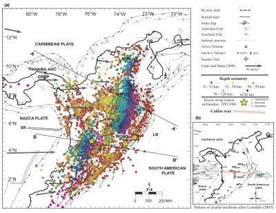 A tectonic map of northwestern South America and Panama showing plate boundaries and 30,000 earthquakes from the Colombian Seismic Network.