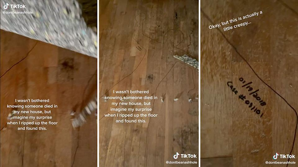 TikTok footage shows woman finding the outline of a body under her carpet.