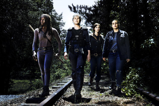 Danai Gurira as Michonne, Melissa McBride as Carol Peletier, Lauren Cohan as Maggie Greene, and Alanna Masterson as Tara Chambler in <i>The Walking Dead</i>. (Photo: Alan Clarke/AMC)