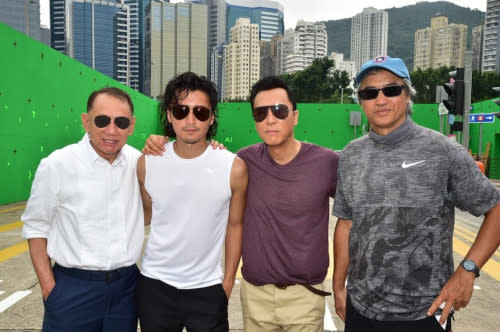 Nic, with Donnie Yen (second from right) and Benny Chan (right)