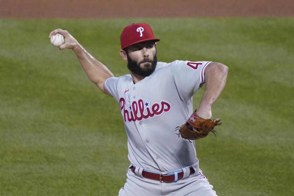 Philadelphia Phillies starting pitcher Jake Arrieta throws in the first inning of a baseball game against the New York Mets, Friday, Sept. 4, 2020, in New York. (AP Photo/John Minchillo)