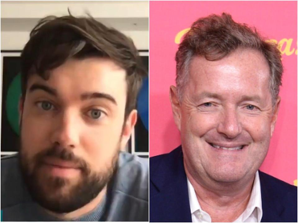 Jack Whitehall on Good Morning Britain (left) and Piers Morgan (right) (ITV/Getty)