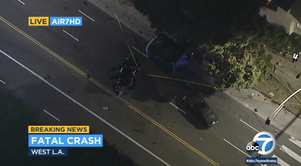 Two cars are seen smashed following a crash in LA.